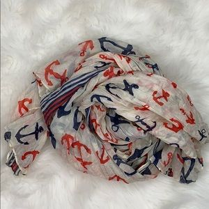American Red White Blue Anchor Lightweight Scarf